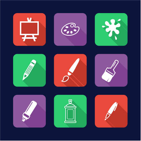 human icons: Painting Or Drawing Tools Icons Flat Design