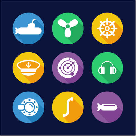 stealthy: Submarine Icons Flat Design Circle Illustration