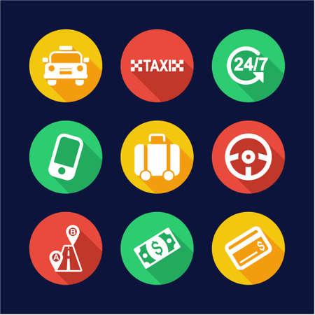 Taxi Icons Flat Design Circle