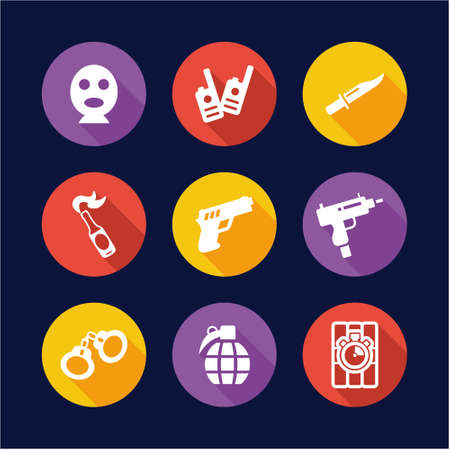 Terrorist Icons Flat Design Circle Illustration