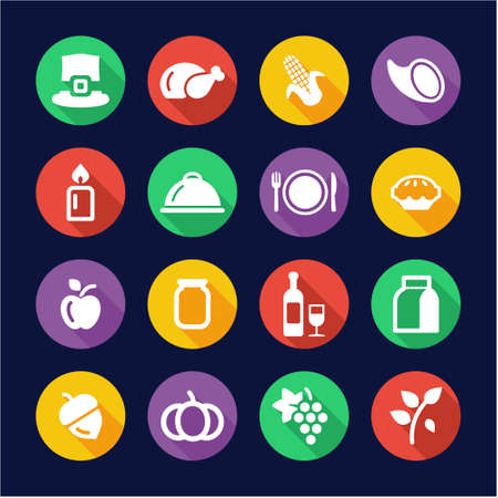 Thanksgiving Icons Flat Design Circle