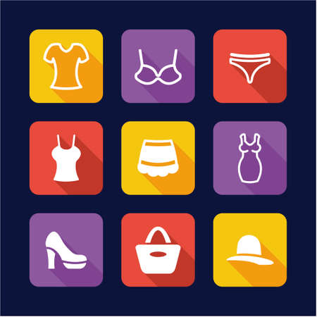 knickers: Womens Clothnig Icons Flat Design Illustration