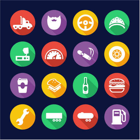 over sized: Truck Driver Icons Flat Design Circle
