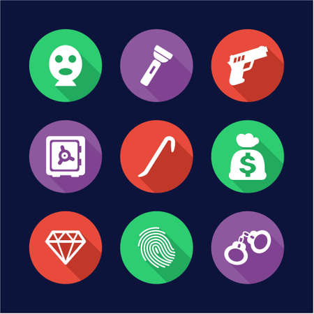 Thief Icons Flat Design Circle
