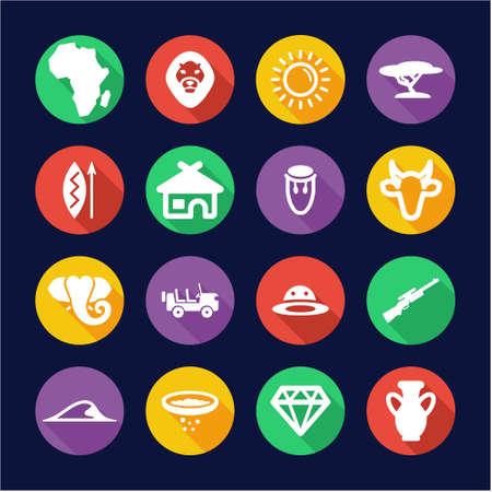 Africa Icons Flat Design Circle