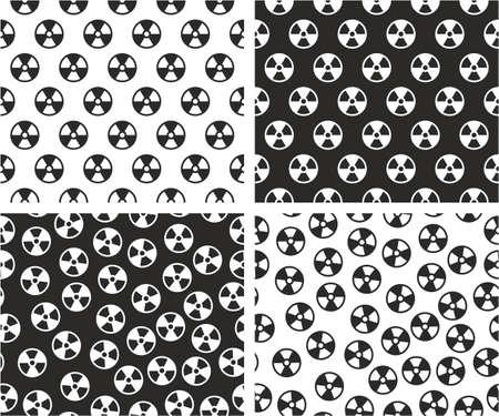 radioactive symbol: Radioactive Symbol Aligned & Random Seamless Pattern Set