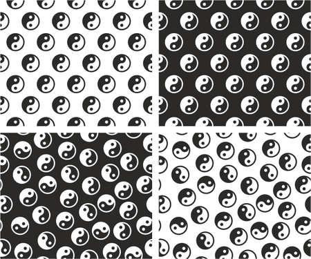 Jing Jang Sign Aligned & Random Seamless Pattern Color Set Illustration