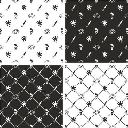 seamless pattern: Artist Seamless Pattern Set Illustration