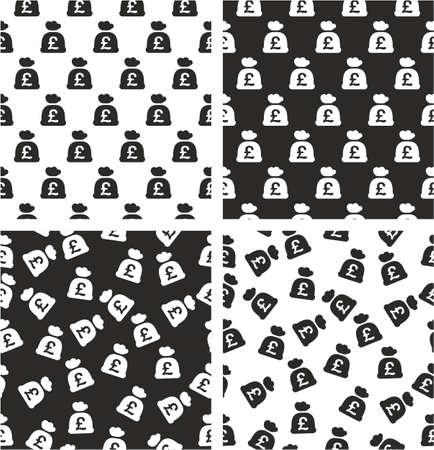Bag Of Money With Pound Symbol Aligned Random Seamless Pattern