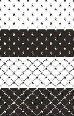 grill: Barbecue Grill Seamless Pattern Set