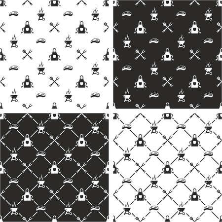 seamless pattern: Barbecue Seamless Pattern Set