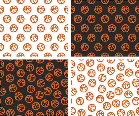 nba: Basketball Ball Aligned & Random Seamless Pattern Color Set