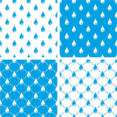 Water Drops Seamless Pattern Blue Color Set