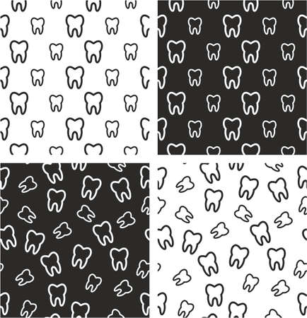 big and small: Tooth Big & Small Aligned & Random Seamless Pattern Set Illustration