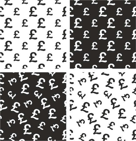 aligned: Pound Currency Sign Big & Small Aligned & Random Seamless Pattern Set