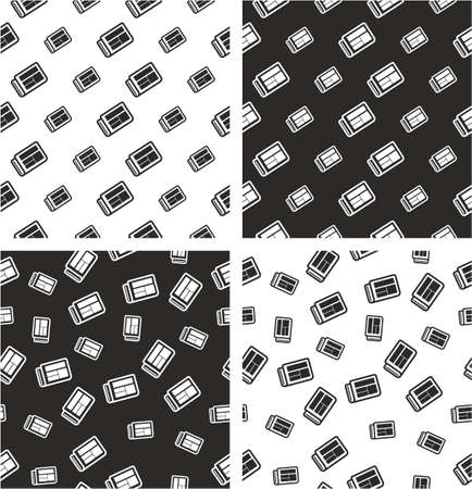 big and small: Newspaper Big & Small Aligned & Random Seamless Pattern Set Illustration