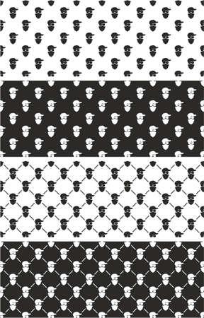 activist: Masked Person, Activist, Sports Fan, Modern Gangster Seamless Pattern Set Illustration