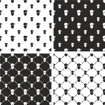 activist: Masked Person, Activist, Sports Fan, Modern Gangster Big & Small Aligned & Random Seamless Pattern Set Illustration