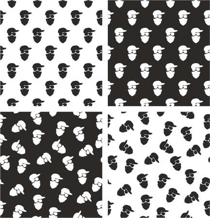 activist: Masked Person, Activist, Sports Fan, Modern Gangster Aligned & Random Seamless Pattern Set