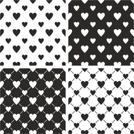 big and small: Heart Shape Big & Small Seamless Pattern Set Illustration