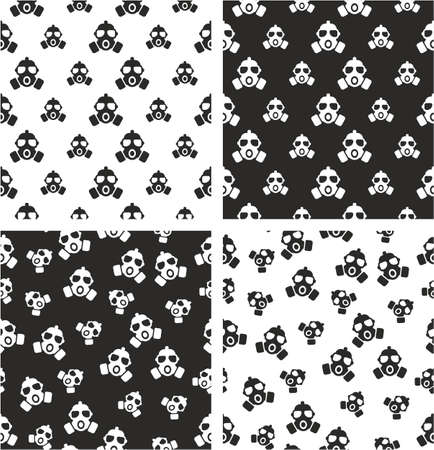 aligned: Gas Mask Big & Small Aligned & Random Seamless Pattern Set
