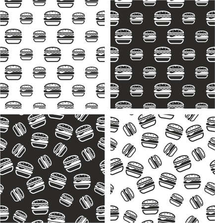 big and small: Hamburger Big & Small Aligned & Random Seamless Pattern Set