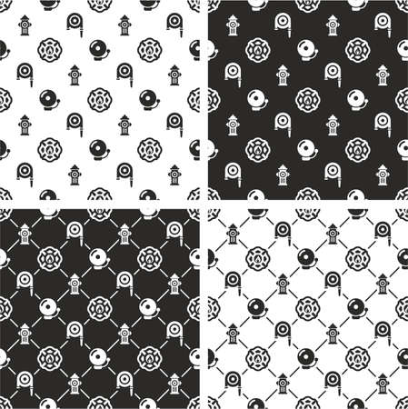 fireman: Fireman Seamless Pattern Set Illustration