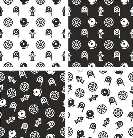 fireman: Fireman Aligned & Random Seamless Pattern Set Illustration