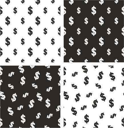big and small: Dollar Currency Sign Big & Small Aligned & Random Seamless Pattern Set Illustration