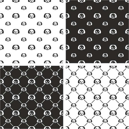 big and small: Dog Big & Small Seamless Pattern Set Illustration