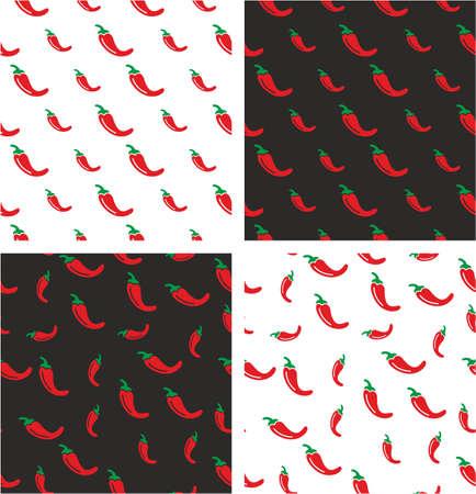 chili pepper: Chili Pepper Big & Small Aligned & Random Seamless Pattern Color Set
