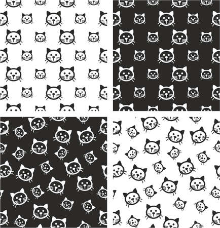big and small: Cat Big & Small Aligned & Random Seamless Pattern Set Illustration