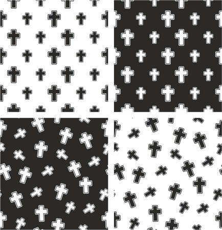 big and small: Christian Cross Big & Small Aligned & Random Seamless Pattern Set
