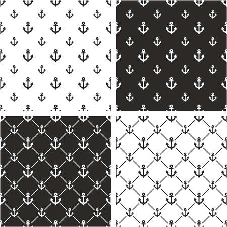big and small: Boat or Tattoo Anchor Big & Small Seamless Pattern Set Illustration