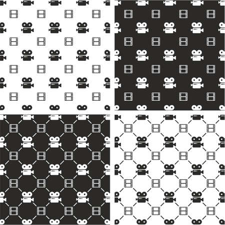 big and small: Movie Camera & Filmstrip Big & Small Seamless Pattern Set Illustration
