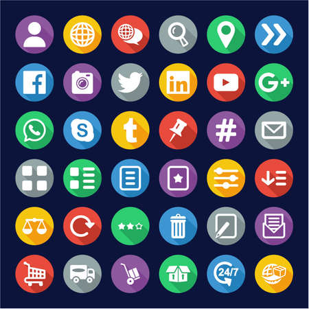 E Commerce or Web Shop Icons Flat Design Circle