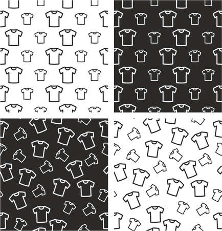 big and small: White T-shirt Big & Small Aligned & Random Seamless Pattern Set