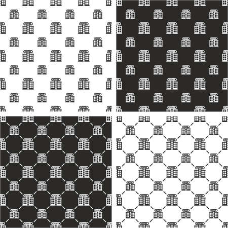 big and small: Vintage Style Hotel Big & Small Seamless Pattern Set Illustration