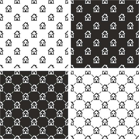 two storey: Two Storey House Big & Small Aligned & Random Seamless Pattern Set Illustration