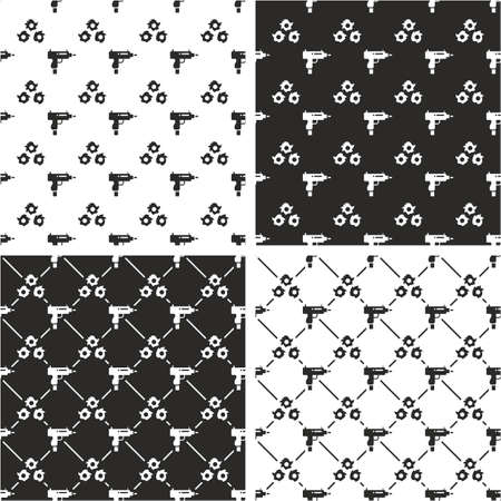 holes: Uzi Gun & Bullet Holes Seamless Pattern Set Illustration