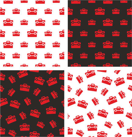 big and small: Toolbox Big & Small Aligned & Random Seamless Pattern Red Color Set Illustration