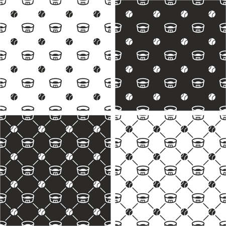 big and small: Tennis Ball & Stadium Big & Small Seamless Pattern Set