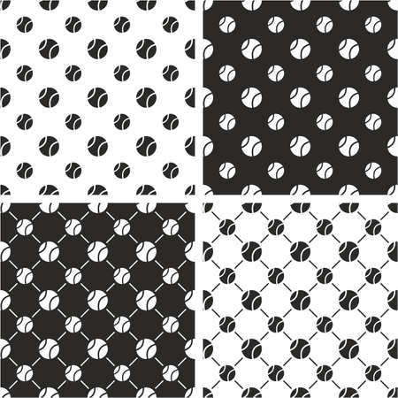 big and small: Tennis Ball Big & Small Seamless Pattern Set Illustration