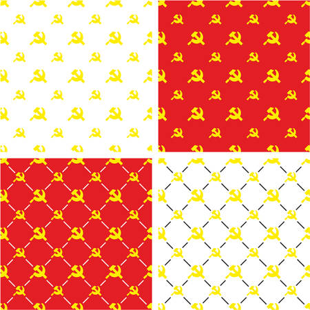 communist: Russian Hammer & Sickle or Communist Symbol Big & Small Seamless Pattern Color Set