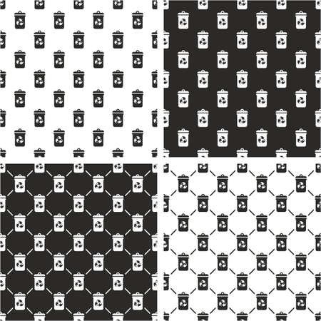 recycling: Recycling Trash Can Seamless Pattern Set