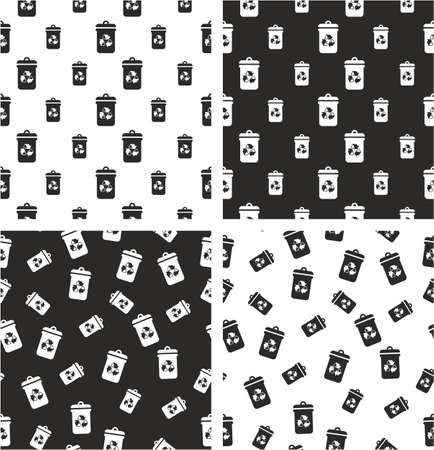 big and small: Recycling Trash Can Big & Small Aligned & Random Seamless Pattern Set