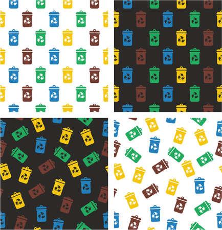 aligned: Recycling Trash Can Aligned & Random Seamless Pattern Color Set Illustration