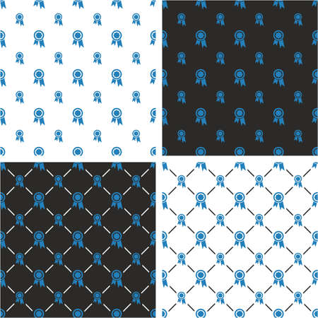 big and small: Prize or Award Big & Small Seamless Pattern Blue Color Set