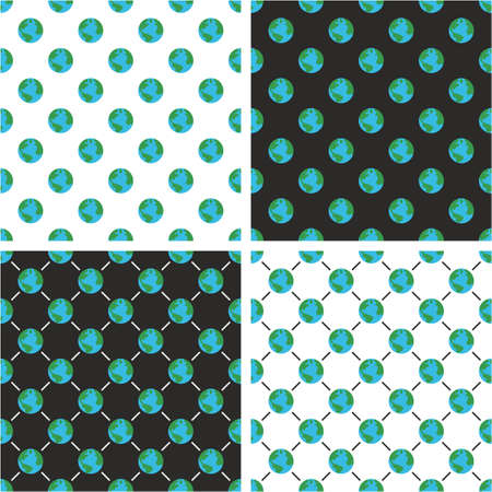 Planet Earth Seamless Pattern Color Set