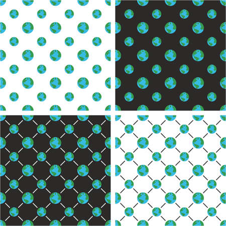 Planet Earth Big & Small Seamless Pattern Color Set
